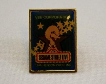 Vintage SESAME STREET LIVE Big Bird enamel pin badge lapel pin pinback tie tack