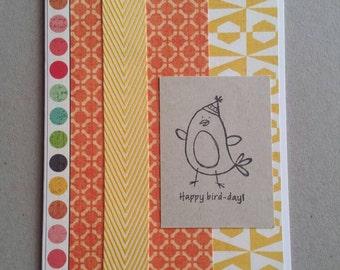 Happy Bird-day - handmade greeting card - blank inside