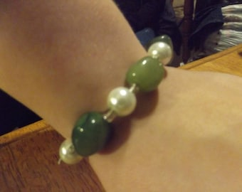 Jade rocks beads and pearl with silver bead accents