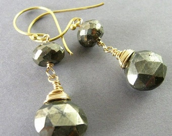 25OFF Pyrite and Gold Filled Wire Wrapped Earrings, Mixed Metal Earrings