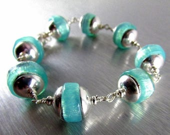25 % OFF Chunky Aqua Lampwork Beads And Sterling Silver Magnetic Clasp Bracelet