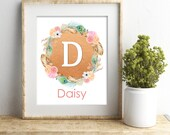 Personalized Baby Girl Nursery Wall Art, Rose Gold Peach Pink Nursery Decor, Boho Tribal Nursery Print, Floral Nursery Print, Girl Room Art