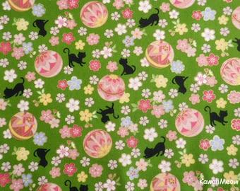 Cute Kimono Fabric - Temari Cats Sakura on Green - Fat Quarter (nu170419)