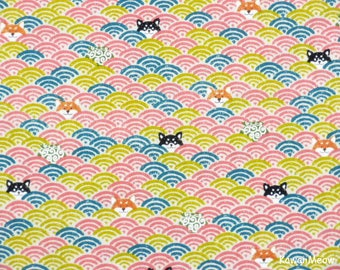 Cute Kimono Fabric -Wave Pattern Dogs on Pink - Fat Quarter (nu170509)