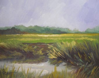 "Small Marsh Painting, 6x8"" Oil Landscape,  Marsh Landscape Painting, New England Marsh, Impressioinist Art"