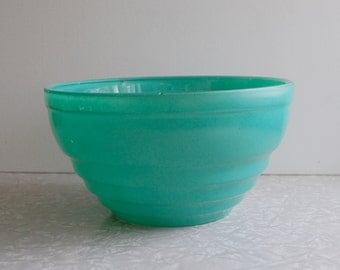 vintage glass mixing bowl, aqua green mixing bowl, painted glass bowl, rustic farmhouse cottage cabin, vintage bakeware, collectible glass