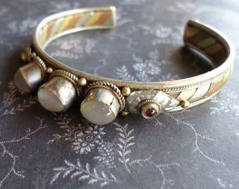 Vintage Tibetan Cuff Bracelet - Tri Color Metal Bracelet - Garnet Cat Eye Bracelet Boho Hippie Bracelet Vintage Bracelet Gold Copper Silver