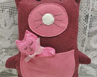 Plush Doll Toy, Bear Pillow, Victorian Rose Wool, Bear and Kitten, Travel Toy