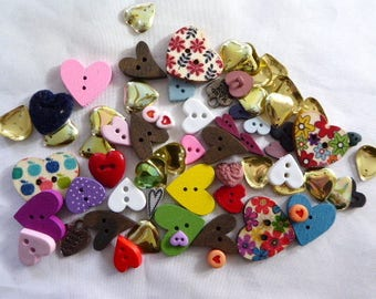 Have a Heart FUN PACK - Crafters Assortment of Heart Buttons, Sequins, Charms, Whatnots (50+) Vintage plus NEW stock