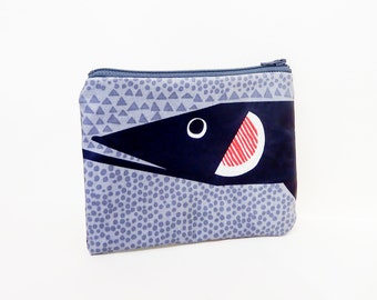 Marimekko Fish Pouch, Small Coated Cotton Zipper Pouch, Small Pouch. Small Wallet, Gift for her, Gift Under 20, Black, Red, Grey Marimekko