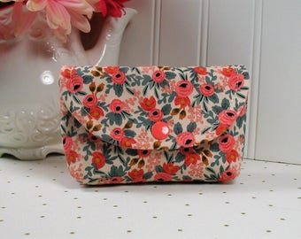 Small Snap Pouch, Accessory Pouch, Small Cosmetic Pouch ...Les Fleurs Rosa in Peach, Rifle Paper Co