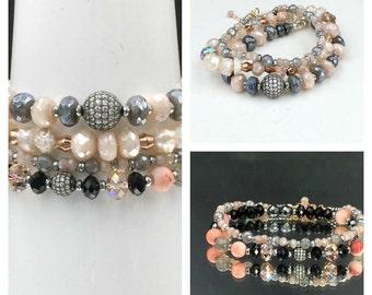 Boho Chic Layering Bracelet Oxidized Silver Pave CZ Stacking Bracelet Blush Moonstone Mystic Labradorite Bracelet Hematite Mala Bracelet