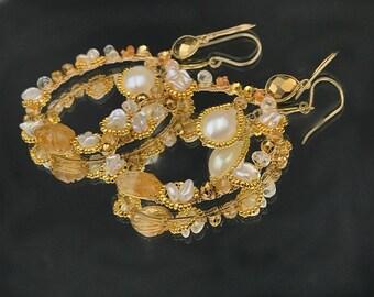 Gold Hoop Earrings, Gemstone Hoop Earrings, Jeweled Hammered Hoop, Wire Wrap Gem, 14kt Gold Fill, Citrine, Keishi Pearl, Statement Earrings