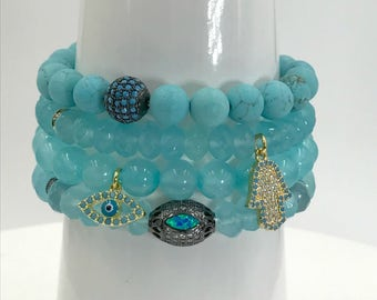 Stretch Bracelet Stack Bracelet Aqua Turquoise Bracelet CZ Bead Yoga Bracelet Stretch Layering Beach Bracelet Turquoise Boho Bracelet