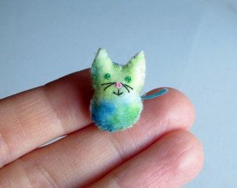 Tie dye Cat miniature felt stuffed plush toy