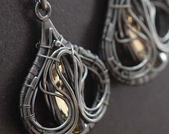 Papilio machaon - Wire Wrapped Earrings with Lemon Quartz