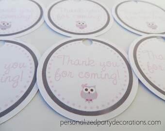 Owl Baby Shower Decorations, Owl Favor Tags, Baby Shower Decor, Baby Girl Shower Sticker, Owl Decorations, Choose Colors & Saying *
