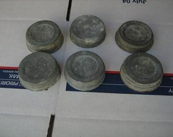 Lot of  6 vintage fruit canning jar ball zinc lids -white milk glass center