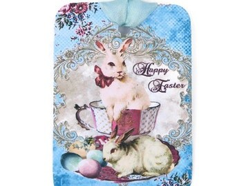 Easter Gift Tags, Rabbit Tags, White Bunny Tags, Easter Vintage Tea Cup Tags, Easter Favor Tags,Chocolate Easter Eggs,Happy Easter Australia
