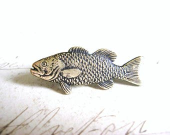 The Tickled Trout - Antiqued Brass Trout Fish Brooch, Lapel Pin or Tie Pin Tie Tack with Gift Box