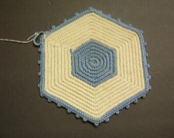 Vintage Pot Holder - Hand Crochet - Blue and White