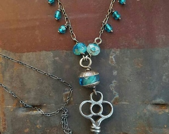 Secret Garden Necklace - Vintage Skeleton Key and All Sterling Silver with Blue and Aqua Czech Glass Crystal Accents - Handmade