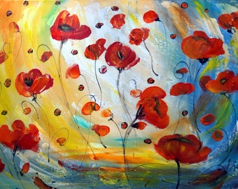 Original Painting Red Poppy Flowers Abstract Floral Large Canvas ready to ship