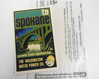 Vintage Travel Decal with Envelope Welcome To Spokane Original Lindgren-Turner Co Decals Washington Water Power Reddy Kilowatt Spokane Falls