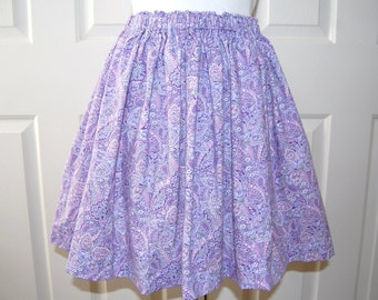 Cotton Skirt Gathered Elastic Waist Vintage Style Skirt Purple Pink Paisley Print Skirt Ladies or Teens Skirt for Her Handmade USA