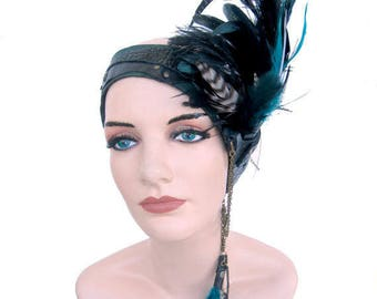 Feathered Head Piece, side headband, Dark Fusion, Opulent tribal, gypsy, goddess: Renegade Icon Designs