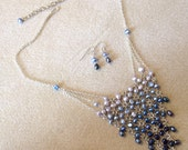 Reserved for dbond861: Graduated Blue Beadmail Necklace & Earring Set - Navy, Royal-Blue, and Sky-Blue Freshwater Pearls on Silver