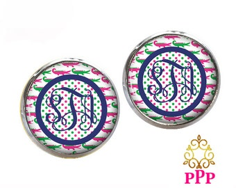 Preppy Alligator Monogram Earrings (441)