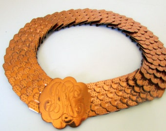 Vintage Copper Belt Expandable Sash Copper tone with Fish Scale pattern 1960s