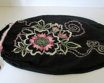 Victorian Bolster Pillow Sham with Tassels and Hand Embroidery Black and Pink Upcycle to a great Hand bag