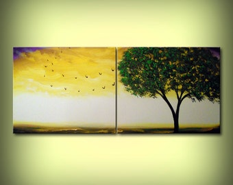 "art painting 56 x 22"" art abstract painting original rainbow clouds bird tree painting green yellow Mattsart"