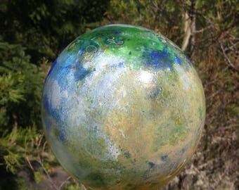 Garden art- handblown glass ball, very colorful