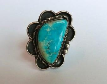 Vintage Sterling Turquoise Ring Nevada Turquoise Stone Boho Fashion Size 6.5