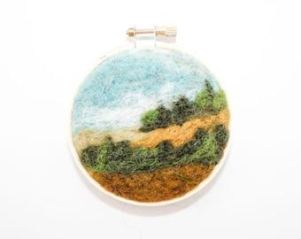 Needle Felted Landscape - Mini Embroidery Hoop Fiber Art - Edge of the Forrest