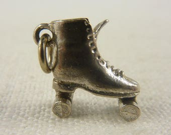 Vintage Sterling Roller Skate Charm with Movable Wheels