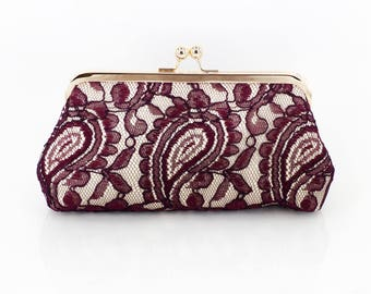 Burgundy & Champagne Alencon Paisley Lace Clutch | Bridal Clutch | Personalized Gift for Mom
