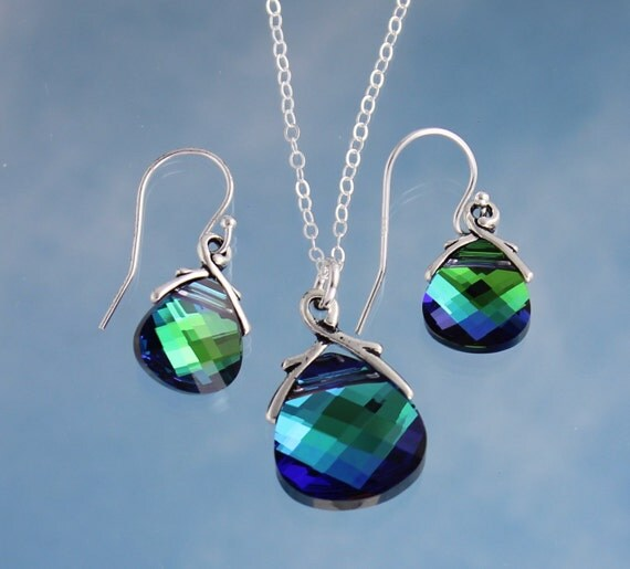 Aqua Sphinx briolette sterling silver necklace & earring set, blue and fern green color changing Swarovski crystals - free shipping USA
