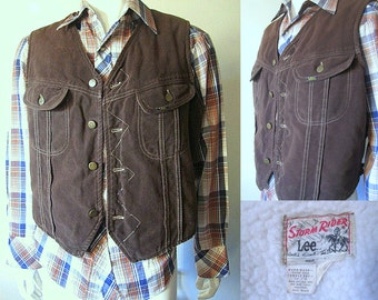 Vintage 70s Lee Storm Rider Brown Sueded Vest with Sherpa Lining