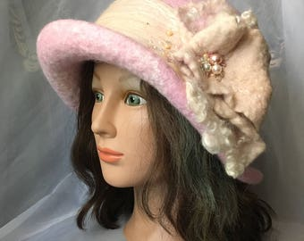 Designer warm wool wet  felted hat .soft pink ,lavender,cream wet felted cloche hat ,tatiana123hat