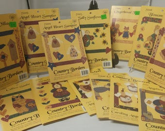 11 Kits Applique Iron On Country Borders, Make Bulletin boards Too Angels, Gingerbread, Sunflower, Bears #B358
