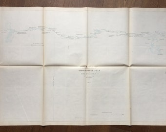 Large Antique Map of the Meganatawan River, Parry Sound - 1857 Topographic Map of the River Meganatawan  - Large Vintage Map - Hand Coloured