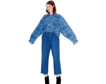 omg most adorable 2 piece DENIM matching set / oversized floral print crop top high waisted jeans mom jeans denim jumpsuit overalls look