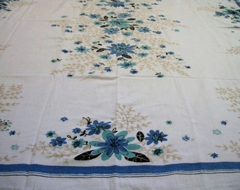 Vintage Tablecloth, Tablecloth with Flowers, Vintage Kitchen, Blue and Gold, Flowered Tablecloth, Table Linens