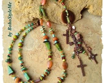 Bohemian Necklace, Copper Crosses, Long Colorful Beaded Necklace, Boho Style Fashion Jewelry, BohoStyleMe, Kaye Kraus
