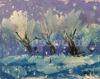 Winter Landscape and three trees in snow,  Small matted original acrylic painting, hand made, art and collectible, impressionist art