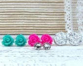 Earring Gift Set Pink Rose Earrings Summer Studs Rose Earring Set Teal Studs Surgical Steel Studs